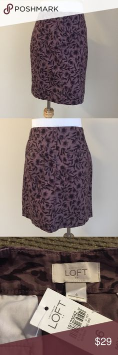 "NWT Ann Taylor Loft floral casual skirt sz 6 NWT Ann Taylor Loft purple floral casual skirt, size 6.  Soft smooth cotton twill, tailored style, hits above knee, zip and button closure, functional front and rear pockets.  Condition:  NWT (new with tags).  Material:  100% cotton.  Measurements:  length 18"", flat waist 16"", flat hip 19"". LOFT Skirts Mini"