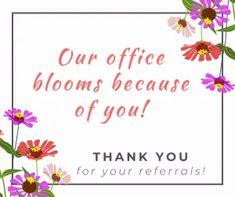 Our office blooms because of you. Thank you for your referrals. / Dentist Office Leadership, Practice Management, and Marketing Tips and Ideas for April 2020 Happy Dental, Dental Kids, Give Kids A Smile, Dental Health Month, Employee Appreciation Gifts, Gifts For Dentist, Dealing With Stress, Clean Teeth, Marketing Office
