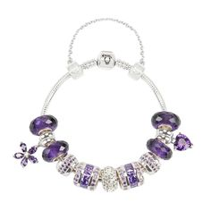 Mystic Purple Silver Charm Bracelet Signature Collection .925 Silver - Purple & Clear Crystals 11 charms & a safety chain 925 silver bead with Heart and Flowermotives