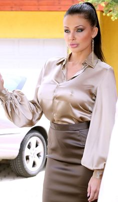 i find it hard to concentrate when her tits are staring at me like that Sexy Blouse, Blouse And Skirt, Blouse Outfit, Satin Pencil Skirt, Pencil Skirt Black, Pencil Skirts, Hot Outfits, Skirt Outfits, Secretary Outfits