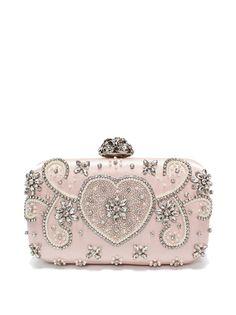 #AdoreWe #StyleWe Clutches - RADISH Pink Beaded Rhinestone Clasp Lock Evening Clutch - AdoreWe.com