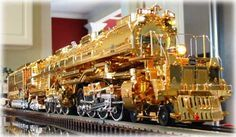 """Union Pacific Railroad """"Big Boy"""" - The locomotive is manufactured by MTH Electric Trains in Columbia, MD. It is a commemorative edition (only 100 produced) honoring the 50th anniversary of the Train Collectors Association. The engine is clad in 18-kt gold."""