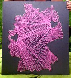Landeskarte mit Herzen - String Art von Fadenkunst auf DaWanda.com