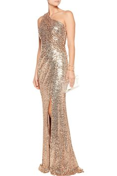 Badgley MischkaOne-shoulder sequined tulle gownfront