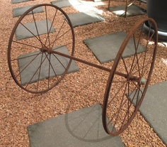 SOLD by NBV - more vintage finds added daily. Set of vintage metal pram wheels on a square axel, Wheel measures 51 cm in diameter.