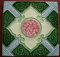 vintage japanese tile . made by M S tile works    ... geometric    tile