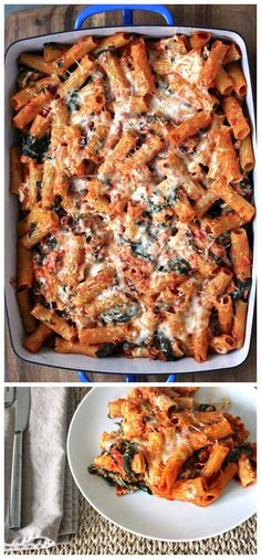 Baked Rigatoni with Spinach and Olives