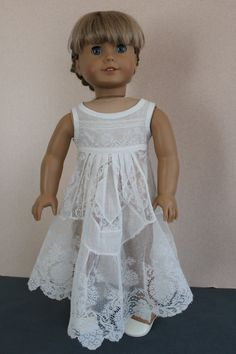 """American Girl Doll Clothes  White Sleeveless by ForAllTimeDesigns, $24.00  I especially love upcycling pieces of vintage clothing -- petticoats and baby gowns in particular -- and coming up with something beautiful for an 18"""" doll.  This is but one example."""