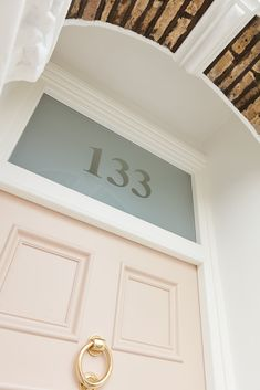 Strengthened glass has been used in the fanlight to give the home extra security. - New House: Living Room - Door Design Front Door Numbers, Front Door Entrance, House Front Door, Front Door Colors, Glass Front Door, Sliding Glass Door, Glass Doors, Victorian Hallway, Victorian Front Doors