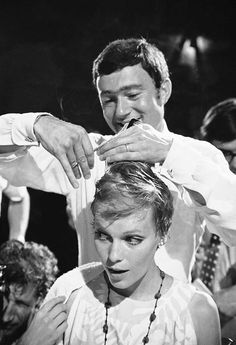 Mia Farrow reacts to Vidal Sassoon creating her iconic pixie hairstyle on the set of Rosemary's Baby, 1968