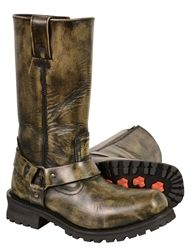 Distressed brown leather motorcycle boots from Milwaukee Leather #bikers #brownleather