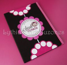 "Libro de Firmas para Baby Shower ""Fucsia & Marrón"" 