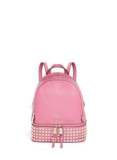 2b6c312ce860 Michael Kors Rhea Small Studded Leather Backpack Pale Pink Studded Backpack,  Studded Bag, Backpack
