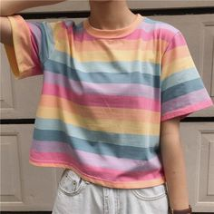 Summer Short Sleeve ONeck Striped Women TShirt Sweet Casual Vogue Tee Shirts Kawaii Tops Tee Size One Size Color tiaowen - Rainbow Aesthetic Shirts, Aesthetic Clothes, Pastel Fashion, Kawaii Fashion, Ropa Color Pastel, Pastel Style, Rainbow Outfit, Rainbow Clothes, Pastel Outfit