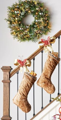 Give gifts a glamorous way to be displayed with a faux fur tree skirt. Each stocking is handmade of modacrylic fabric with luxuriously soft trim crafted of the same faux fur used in our pillows and throws.