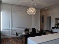 Porte secrète - renovation Flat Interior, French Interior, Interior Design, Formal Dinning Room, Slanted Ceiling, Wall Trim, Wall Molding, Living Room With Fireplace, Wainscoting