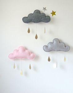 3 Rain Cloud Mobiles Nursery Children Decor- 3 Spring  rain Cloud Mobiles for nursery by The Butter Flying
