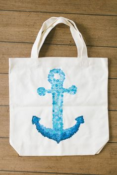 10 Cute Tote Bag Designs to Stamp this Summer - stamped anchor tote bag #totebag #printing #summersewing