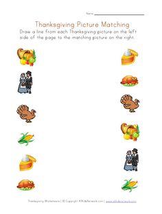 Thanksgiving Printable Worksheet - Matching Pictures
