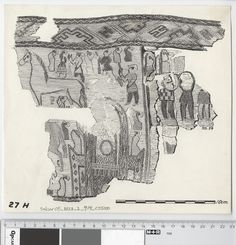 Oseberg Findings from folder 'Oseberg, textile - textile fragment No. 26, 27': textile fragment 27 H. Marker Drawing of Mary Storm (MS59). Dimensions: W: 23 cm, H: 21 cm.