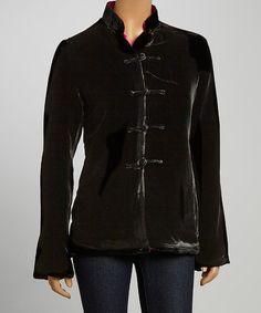 Loving this Black & Fuchsia Brocade Reversible Jacket - Women on #zulily! #zulilyfinds
