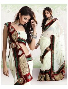 Get the pleasure of perfection with this very classy design which is going to look above everything. Classic cream color georgette saree with delicate work choli, extensive velvet and fancy fabric, brocade patch border and all over rich work butties is ornamented with shiny sequins, stones, jari, jardozy, cutdana, diamonds, resham embroidery, fancy work floral and paisley design motifs.   http://www.bharatplaza.in/ready-to-ship/sarees/classic-patch-border-sari-skd221.html