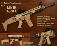 Build a paper model of the Hk416 carbine. This model is 1:1 scale, consists of several distinct parts that can be disassembled, and includes a collapsible stock and moveable bolt carrier. In additi...