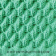 Once you learn how to do the two basic stitches of Knit and Purl, you can knit the Left Diagonal Rib stitch. Cast on a multiple of 6 sts and a repeat. Beginner Knitting Patterns, Dishcloth Knitting Patterns, Knit Dishcloth, Knitting Designs, Rib Stitch Knitting, Loom Knitting Stitches, Knitting Charts, Rib Knit, Baby Afghan Crochet