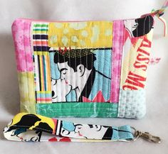 Quilted wristlet purse clutch Lovers Kiss retro comic by PopThree
