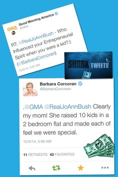 "Huge ‪#‎ShoutOut‬ to "" #GoodMorningAmerica"" and ""BarbaraCorcoran"" for ‪#‎Tweeting‬ and ‪#‎ReTweeting‬ my Question for Barbara earlier today!:)  "" #SharkTank "" is Definitely one of my Most ‪#‎Favorite‬ Shows!:)  And, as a Woman ‪#‎Business‬ Owner (of #ESAudio #RecordingStudio in ‪#‎LosAngeles ‬, ‪#‎CA‬ ), both ‪#‎BarbaraCorcoran‬ and Lori Greiner are True ‪#‎Inspirations‬ to Me!:)  Photo Collage: #JamminJo 2014   www.ESAudio.com 2014"