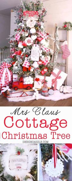 Mrs Claus Cottage Christmas Tree - hand painted ribbon, red and white cottage decor   Christmas tree decorating tips   Christmas tree decor   how to decorate a Christmas tree   Christmas tree designs   diy Christmas tree decor    Design Dazzle #christmastreedecor #christmastree #christmasdecor