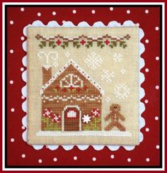 """Gingerbread House Two is the title of this cross stitch pattern from the Country Cottage Needleworks series titled """"Gingerbread Village"""" and is the fourth design in the series. The cross stitch pattern is stitched with Classic Colorworks"""