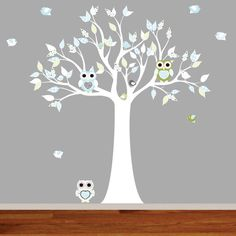 Vinyl Wall Decal Stickers Pattern Leaf Owl Tree Set Nursery Baby on Etsy, $104.00