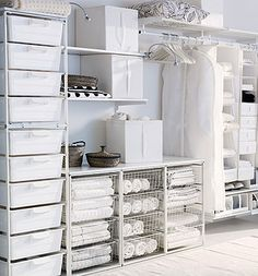 ikea Algot wardrobe storage system could be laundry or linen closet storage Storage Solutions Closet, Ikea Storage, Laundry Room Design, Bedroom Storage, Wardrobe Storage, Master Bedroom Organization, Organization Bedroom, Ikea, Ikea Algot
