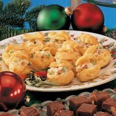 Chicken Salad Puffs ~ Stuffed with a chunky chicken salad, these pretty golden puffs are perfect for a holiday buffet or ladies' luncheon.