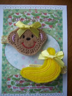 Monkey and Banana Embroidered Felties Hair by LittleDollysShop, $6.50