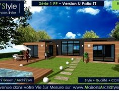 serie 1 pp 04 maison archistyle u patio toit terrasse maison plein pied contemporaine constructeur bardage - Maison Moderne En Acier De Plain Pied
