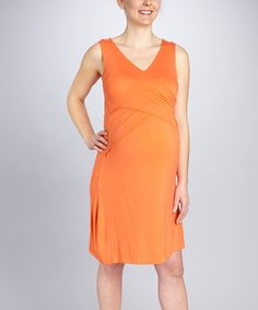 Take a look at this Orange Crisscross Maternity & Nursing Dress by Japanese Weekend on #zulily today! $17 !!