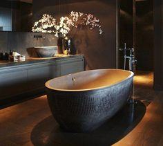 A statement bathtub is a unique way to add style to a bathroom! The matching patterns on the bathtub and the vessel sinks give so much personality to this beautiful bathroom! Bathroom Repair, Bathroom Toilets, Diy Bathroom Decor, Bathroom Colors, Brushed Nickel Bathroom Accessories, Modern Shower, Modern Bathroom, Beautiful Bathrooms, Interior And Exterior