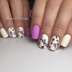 Insanely beautiful nails, May nails, Nails for spring dress, Nails with petals, Original nails, Party nails, Spring nail art, white and purple nails