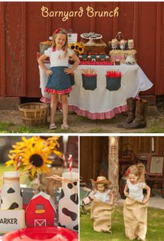 Tons of CUTE ideas for throwing a Barnyard-themed brunch! Love the denim pockets on the tablecloth to hold party utensils! And the muddy pigs.. so so cute!