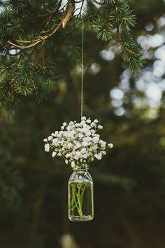 Love this hanging mason jar flower vase with Baby's Breath for vintage rustic wedding decor! Victoria and Richard had a Scottish wedding with a summer fête theme Trendy Wedding, Diy Wedding, Dream Wedding, Wedding Day, Wedding Themes, Wedding Vintage, Wedding Summer, Wedding Ceremony, Wedding Rustic
