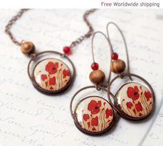 Red Poppies Earrings & Necklace Set beautyspot@etsy.com $45