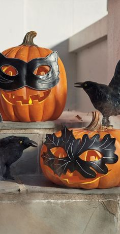 With our Masked Pumpkins you can skip the carving and crafting and create a charming jack-o'-lantern display in an instant.