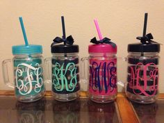 We have these mason jar monogram cups here at Blue Abaco!  I'll take the black and teal please :)