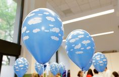 """Love these cloud balloons for an airplane """"on the go"""" themed party"""
