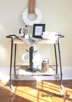 The salvaged boutique on pinterest boutiques rolling for Coffee carts for office