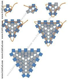 Seed bead jewelry * peyote triangles -three bead start ~ Seed Bead Tutorials Discovred by : Linda Linebaugh Seed Bead Tutorials, Seed Bead Patterns, Beaded Bracelet Patterns, Peyote Patterns, Beading Tutorials, Beading Patterns, Embroidery Patterns, Knitting Patterns, Beading Ideas