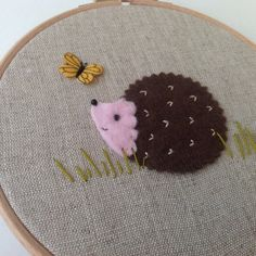 Felt hedgehog hoop art. Woodland nursery. by BoxRoomBazaar