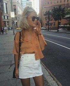 denim mini skirt + cropped satin blouse